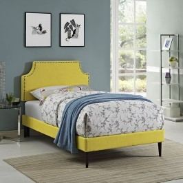 Laura Twin Fabric Platform Bed with Round Tapered Legs in Sunny