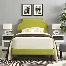 Laura Twin Fabric Platform Bed with Round Tapered Legs in Wheatgrass