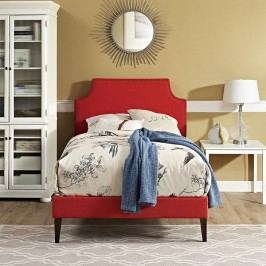 Laura Twin Fabric Platform Bed with Squared Tapered Legs in Atomic Red