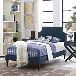 Laura Twin Fabric Platform Bed with Squared Tapered Legs in Azure
