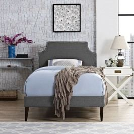 Laura Twin Fabric Platform Bed with Squared Tapered Legs in Gray