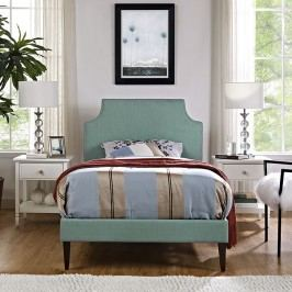 Laura Twin Fabric Platform Bed with Squared Tapered Legs in Laguna