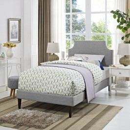 Laura Twin Fabric Platform Bed with Squared Tapered Legs in Light Gray