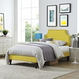 Laura Twin Fabric Platform Bed with Squared Tapered Legs in Sunny
