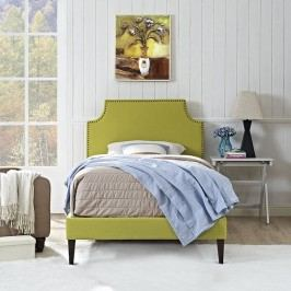Laura Twin Fabric Platform Bed with Squared Tapered Legs in Wheatgrass