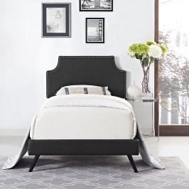 Laura Twin Vinyl Platform Bed with Round Splayed Legs in Black