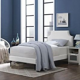 Laura Twin Vinyl Platform Bed with Round Tapered Legs in White