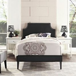 Laura Twin Vinyl Platform Bed with Squared Tapered Legs in Black