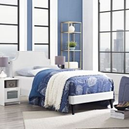 Laura Twin Vinyl Platform Bed with Squared Tapered Legs in White