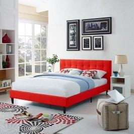 Linnea Queen Fabric Bed in Atomic Red