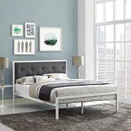 Lottie Full Fabric Bed in White Gray