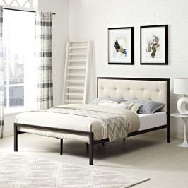 Lottie Queen Fabric Bed in Brown Beige