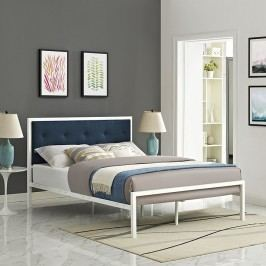 Lottie Queen Fabric Bed in White Azure