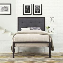 Lottie Twin Fabric Bed in Brown Gray