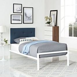 Lottie Twin Fabric Bed in White Azure