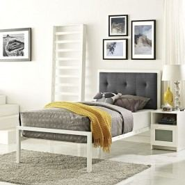 Lottie Twin Fabric Bed in White Gray