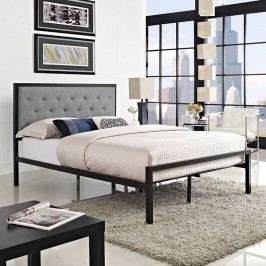 Mia Full Fabric Bed in Brown Gray