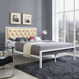 Mia Full Vinyl Bed in White Champagne