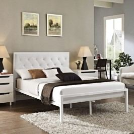 Mia Full Vinyl Bed in White White