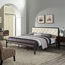 Mia King Fabric Bed in Brown Beige