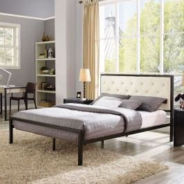 Mia Queen Fabric Bed in Brown Beige