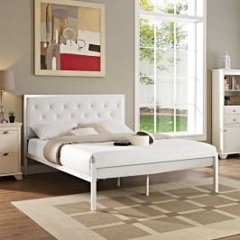 Mia Queen Vinyl Bed in White White