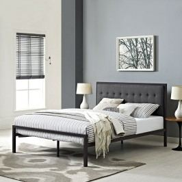 Millie King Fabric Bed in Brown Gray