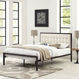 Millie Queen Fabric Bed in Brown Beige