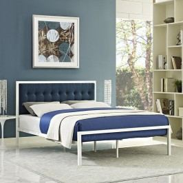Millie Queen Fabric Bed in White Azure