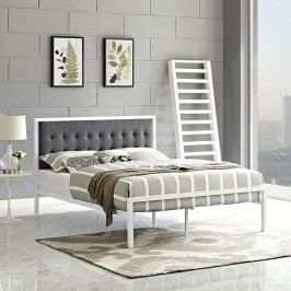 Millie Queen Fabric Bed in White Gray