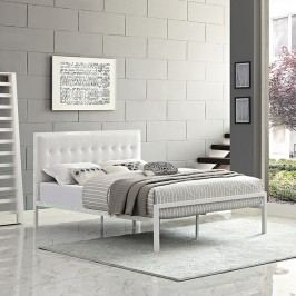 Millie Queen Vinyl Bed in White White