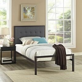 Millie Twin Fabric Bed in Brown Gray