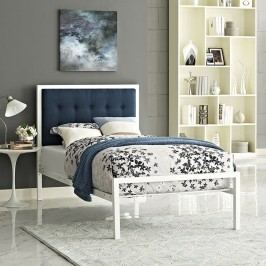 Millie Twin Fabric Bed in White Azure