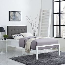 Millie Twin Fabric Bed in White Gray