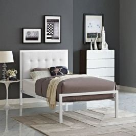 Millie Twin Vinyl Bed in White White