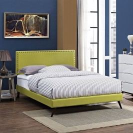 Phoebe Full Fabric Platform Bed with Round Splayed Legs in Wheatgrass