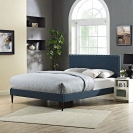 Phoebe Full Fabric Platform Bed with Round Tapered Legs in Azure