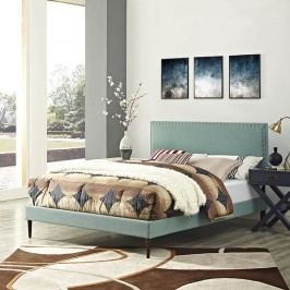 Phoebe Full Fabric Platform Bed with Round Tapered Legs in Laguna