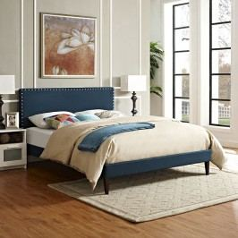 Phoebe Full Fabric Platform Bed with Squared Tapered Legs in Azure