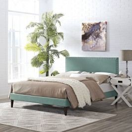Phoebe Full Fabric Platform Bed with Squared Tapered Legs in Laguna