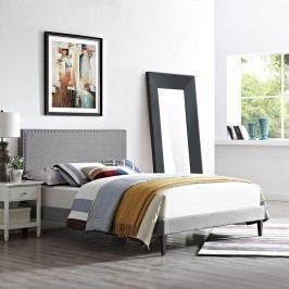 Phoebe Full Fabric Platform Bed with Squared Tapered Legs in Light Gray