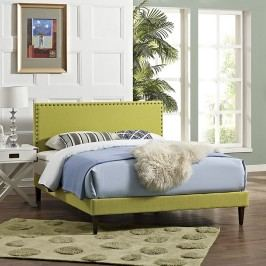 Phoebe Full Fabric Platform Bed with Squared Tapered Legs in Wheatgrass