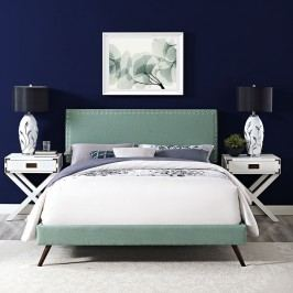 Phoebe King Fabric Platform Bed with Round Splayed Legs in Laguna