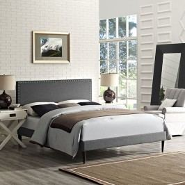 Phoebe King Fabric Platform Bed with Round Tapered Legs in Gray