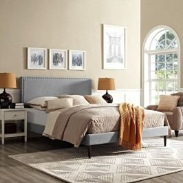 Phoebe King Fabric Platform Bed with Round Tapered Legs in Light Gray