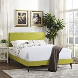 Phoebe King Fabric Platform Bed with Round Tapered Legs in Wheatgrass