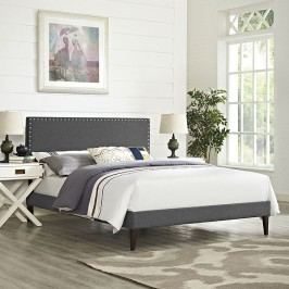 Phoebe King Fabric Platform Bed with Squared Tapered Legs in Gray