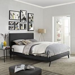 Phoebe King Vinyl Platform Bed with Round Splayed Legs in Black