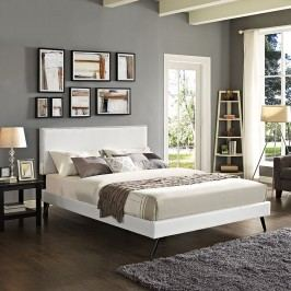 Phoebe King Vinyl Platform Bed with Round Splayed Legs in White