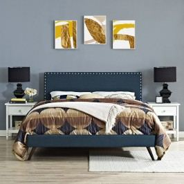 Phoebe Queen Fabric Platform Bed with Round Splayed Legs in Azure